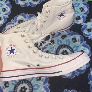 BRAND NEW white converse size8.5W/6.5M